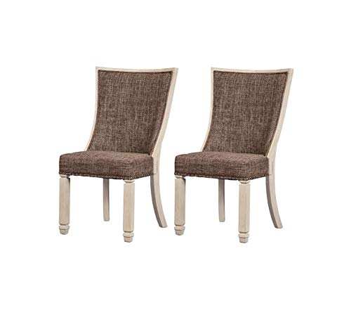 (Premium Bolanburg Dining Side Chair - Set of 2 - Upholstered - Two-Tone - Textured Antique White Finish)