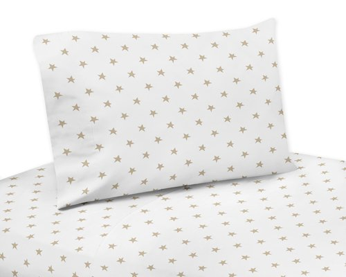 ゴールドとホワイトスタークイーンシートセットfor Celestialコレクションby Sweet Jojo Designs – 4 Piece Set B0775XF85N