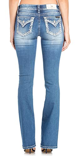 Miss Me Women's Silver Border Pocket Boot Cut Jeans (Medium Blue, 28) from Miss Me