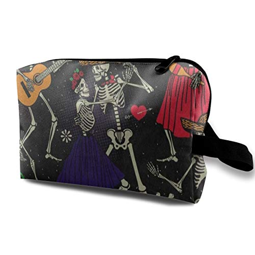 Makeup Bag Dia De Los Muertos Skull Handy Travel Multifunction Travel Bags Designer Case For Girls -