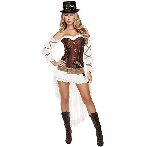 Cyberteez Sexy 7pc Women's Victorian Steampunk Babe Costume (L)]()