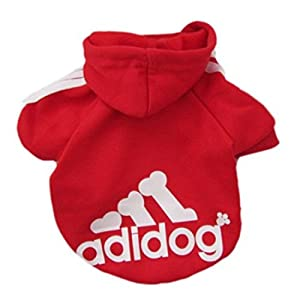 Pet Dog Clothes Coat Soft Cotton Adidog Clothing 7 Colors Small Size S M L Xl XXL Dog Jacket (M, Red)