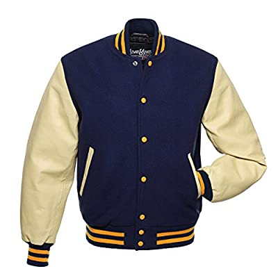 C146 Navy Blue Wool Natural Cream Leather Varsity Jacket Letterman Jacket