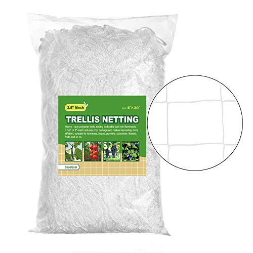 BaseGoal All-Weather Trellis Netting Garden Vine Plant Growing Flexible String Net (3.5