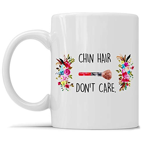 Chin Hair Don't Care, Cosmetic Bag, Beauty Bag, Funny Jokes For Women, Menopause, White Elephant Gifts, Canvas Pouch, Beauty Bag, 50th Coffee Mug 11oz & 15oz Gift Tea Cups