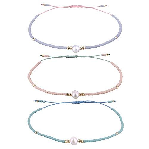 KELITCH 3 Pcs Seed Beaded Bracelets Handmade Friendship Bracelets Family Strand Hand Chain Bangles (Color 02C)