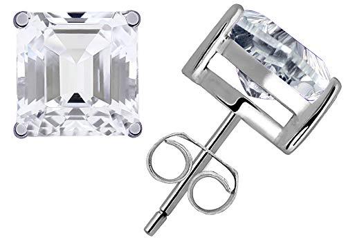 0.8 Ct White Topaz Gemstone Birthstone 925 Sterling Silver Stud Earrings Princess-Cut 4x4mm For Women Blue Topaz Geometric Earrings