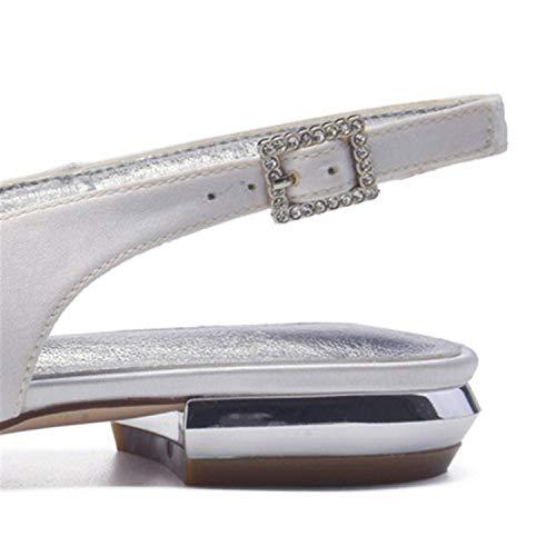 Women L Shoes Satin Buckle Wedding Evening YC Fashion Ivory Pumps 6B45xBUwnq