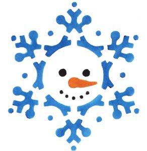 Template Snowman - Snowflake Snowman Stencil with Paints - Stencil with Paints - Plastic