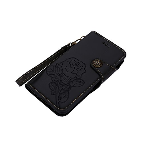 MEIRISHUN Leather Wallet Case Cover Carcasa Funda con Ranura de Tarjeta Cierre Magnético y función de soporte para LG Q6 - Negro Negro