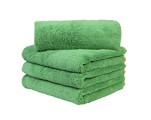 CARCAREZ Microfiber Car Drying Towels, 16x24 Inch Large Car Wash Detailing Buffing Polishing Towel with Green Microfiber Cloth, 380gsm, Pack of 4