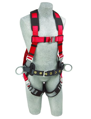 Fall Protection Body Belt (3M Protecta PRO 1191269 3M Protecta Fall Protection Full Body Harness, Back and Side D-Ring's, Hip Pad and Belt, 420  lb. Capacity, Small, Red/Gray)
