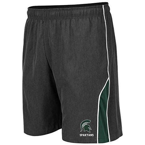 Colosseum NCAA Mens Basketball Shorts - Athletic Running Workout Short-Charcoal with Team Colors-Michigan State -