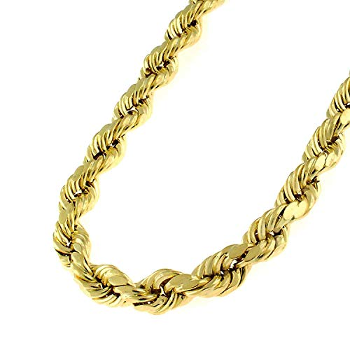 (10K Yellow Gold 5mm Hollow Rope Diamond-Cut Braided Twist Link Chain Necklace 22