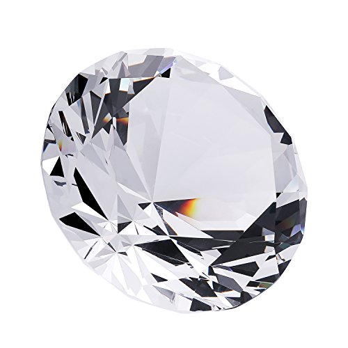 EOFEEL large diamond crystal glass paperweight home office decor gifes (3 inches)