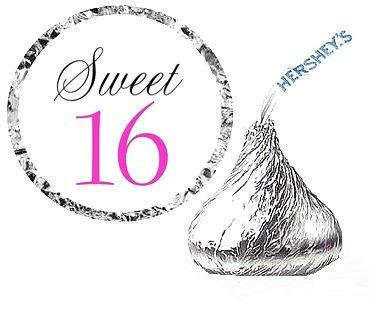Cakesupplyshop Item#4366y - 216 Sweet 16 Birthday Party Favor Hershey's Kisses Stickers / Labels (Sweet 16 Items)