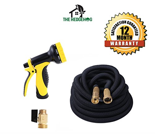 NEW Expandable Garden Hose with Brass Connectors, 10-Pattern Spray Nozzle. High Pressure. Great flexible hose for all of your watering needs! A must add hose pipe for your gardening tools! (100 feet) by The Hedgehog
