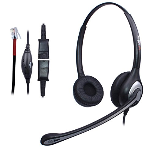 Wantek Corded Telephone Headset Binaural with Noise Canceling Mic + Quick Disconnect for Yealink SIP-T19P T20P T21P T22P T26P T28P T32G T41P T38G T42G T46G T48G Avaya 1616 9620 9640 IP Phones(602QY1) from Wantek