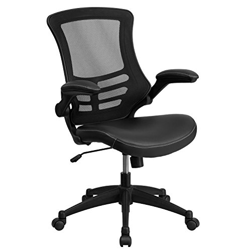 Mid-Back Black Mesh Swivel Task Chair with Leather Padded Seat and Flip-Up Arms ()