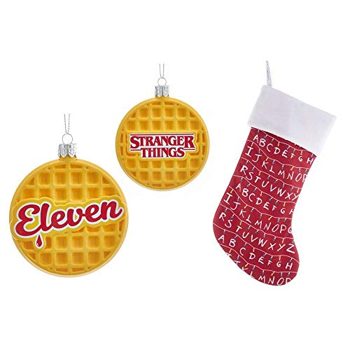 Just Funky Stranger Things Holiday Bundle Featuring Eleven Waffle Ornament and Red Stocking (Stocking Funky Christmas)