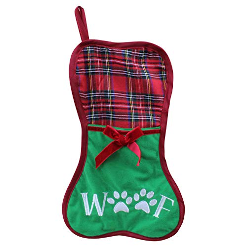 Christmas Stockings for Dogs & Cats - with Big Pocket for Lots of Treats (Green-Dog)