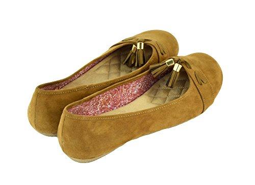 Vrouwen Platte Schoenen Comfortabele Slip Op Ronde Teen Ballet Flats Suede Bruin Maat 9