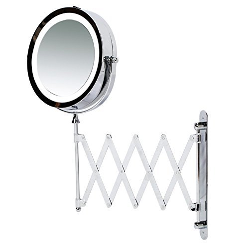 Kenley Wall Mounted Magnifying Makeup Mirror with LED Light - Extending Vanity Shaving Lighted 7 Two-Sided Mirror with 3x Magnification
