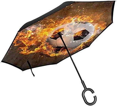 火で燃えるサッカーボール ユニセックス二重層防水ストレート傘車逆折りたたみ傘C形ハンドル付き