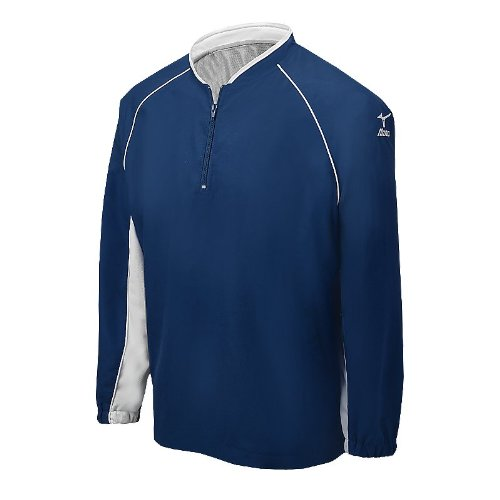 Mizuno Prestige G4 Long Sleeve Batting Jersey, Navy, (Mizuno White Pullover)