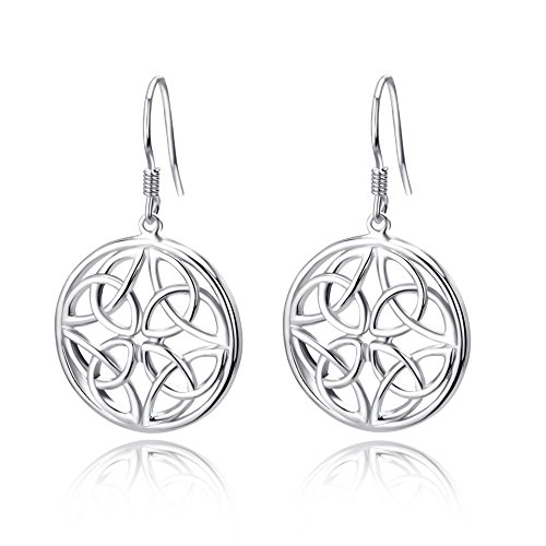 YFN 925 Sterling Silver Good Luck Irish Celtic Knot Triangle Vintage Earrings (Silver) ()