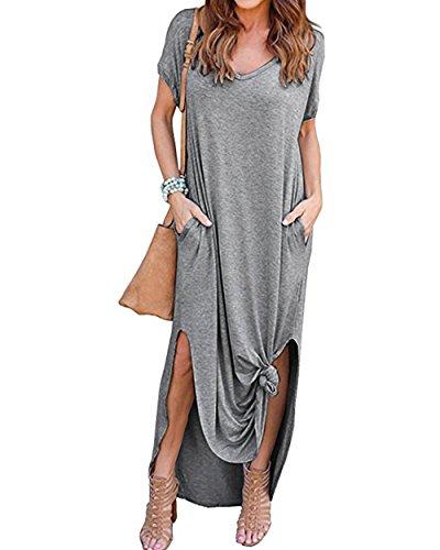 Tropical Tank Dress - Women's Long Loose Maxi Dress V-Neck Casual Side Split Dresses with Pockets