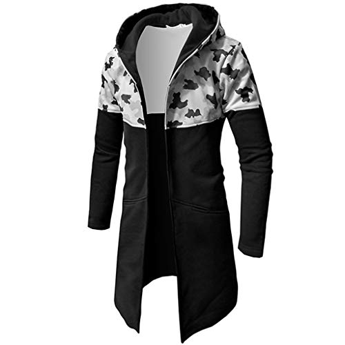 Forthery Men's Trench Coat with Hood Winter Camouflage Zipper Jacket Overcoat Cardigan(Grey, US Size XL = Tag 2XL)