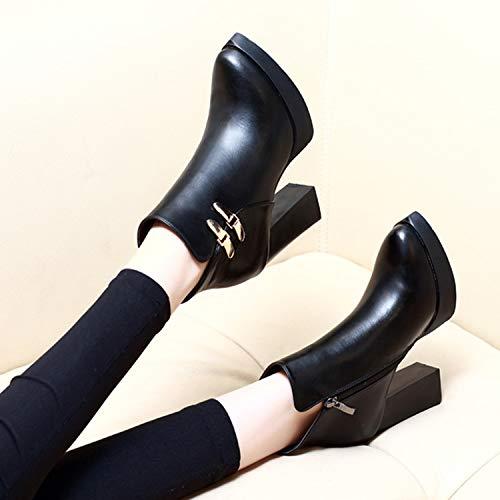 Black Altos Salvaje Impermeable Ma Lbtsq botas Botas Tacones Puntiagudas Cortas Dingxue Sexy 9cm ZxwR7CR