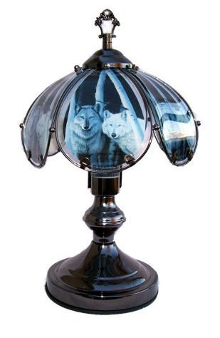 OK LIGHITNG OK-603C-WO2-SP3 14.25 in. Wolves Touch Lamp