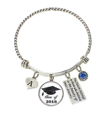 Bracelet Custom Class of 2018 Graduation Hat Silver Gift Choose Initial & Color Bracelet (Bracelets Silver Custom)