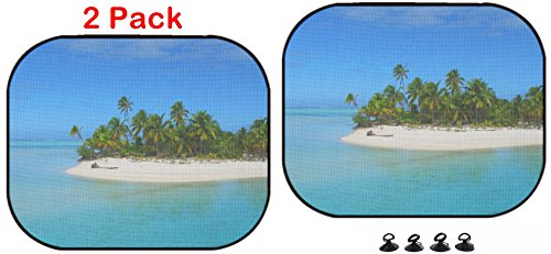 Luxlady Car Sun Shade Protector Block Damaging UV Rays Sunlight Heat for All Vehicles, 2 Pack Beautiful Beach in One Foot Island Aitutaki Cook Islands Image ID 4293654