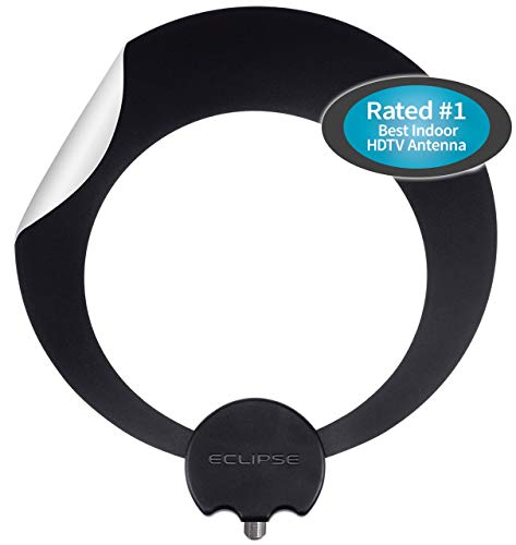Antennas Direct Clearstream Eclipse TV Antenna, 35+ Miles/55+ Km Range, Multi-Directional, Grips to Walls with Sure Grip Strip, 12 ft. Coaxial Cable, Black or White, 4K Ready - ECL-CN