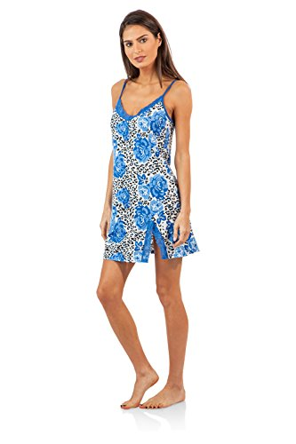 Casual Nights Women's Sleepwear Lace Trim Slip Camisole Nightie - Blue Rose Leopard - XX-Large