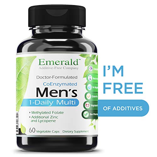 Men's 1-Daily Multi - Complete Daily Multivitamin with CoEnzymes, Extra Zinc & Lycopene - Supports Healthy Prostate, Energy Boost, Bone Strength, & More - Emerald Laboratories - 60 Vegetable Capsules