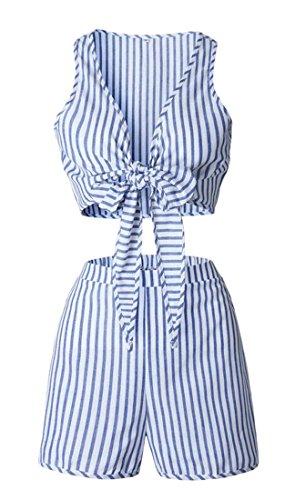 Fulok Womens Srtip Sleeveless Fashion Bandage Short Jumpsuits Blue L