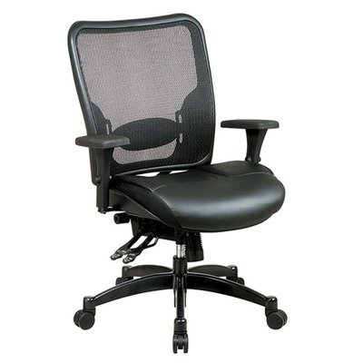 Office Star Matrex Mesh - SPACE Seating Breathable Mesh Back and Layered Leather Seat, Dual-Function Control, 4-Way Adjustable Arms, Seat Slider and Gunmetal Finish Base Managers Chair
