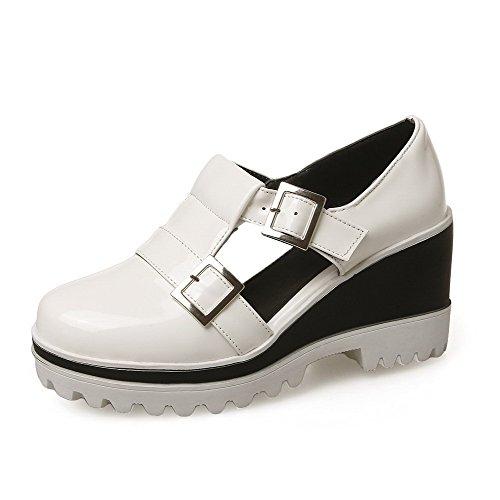 VogueZone009 Damen Lackleder Rein Schnalle Zehe Hoher Absatz Pumps Schuhe Weiß