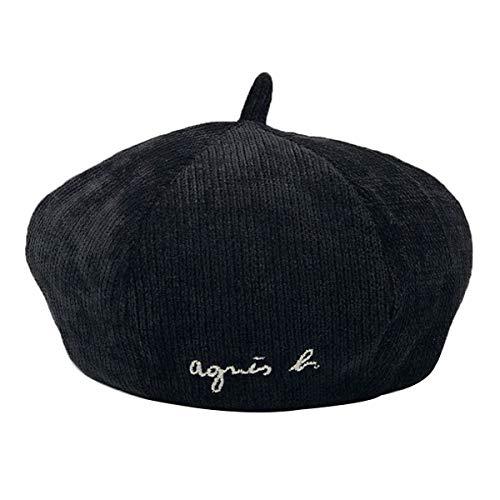 Van Caro Plain Corduroy Beret Hat for Women Girls Cute Winter Fall Beanie Cap (Black) ()