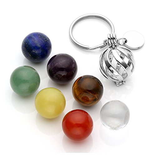 Aventurine Gemstone Keychain - Top Plaza Handmade DIY Silver Stainless Steel Locket Keyring Keychain with 7 Chakra Healing Crystal Balls - Twisted Ball