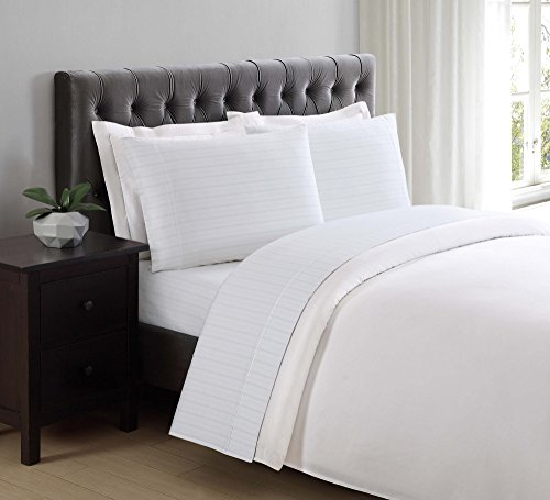 Charisma 310 Thread Count Classic Stripe Cotton Sateen Twin Sheet Set in Bright White
