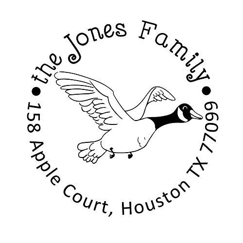 - Custom Self Inking Address Stamp Return Family Stamper Seals for Holiday Gift Swan Cygnet Wild Goose Bird Design Circular Rubber Stamper