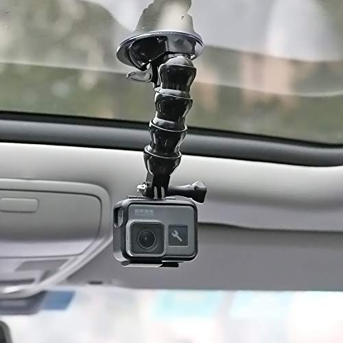 Flexible Gooseneck Extension Suction Cup Car Mount Holder with Phone Holder for GoPro Hero 6 5 Black,4 Session,4 Silver,3+,iPhone,Samsung Galaxy,Google Pixel and - Extension Gooseneck Flexible