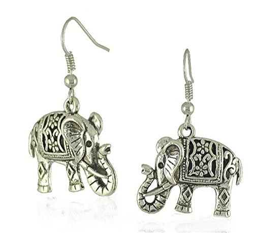 SUNSCSC Silver Plated Cute Carve Turquoise Pendant Elephant Necklace Ear Wire Hook Dangle Earrings Set (1 Pair Earrings)