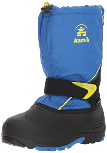 Kamik Children's Snow Boots - Kamik Boys' Sleet Snow Boot, Blue/Sulfur, 2 Medium US Little Kid