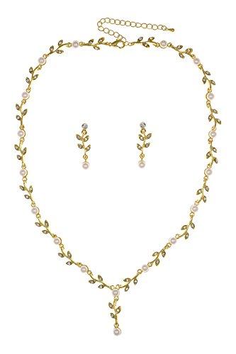 Elegant Vine Design Bridal Wedding Crystal Necklace Earrings Set - Gold Plated Faux Pearls N115